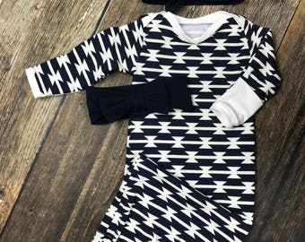 Newborn coming home outfit, gender neutral outfit, navy tomahawk layette gown, newborn sleep sack, sleeper, premie outfit