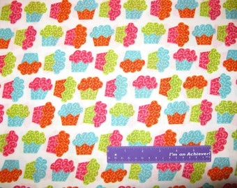 Sweet Shop Baker Cupcakes Frosting Dessert Treat Cotton Fabric By The Half Yard
