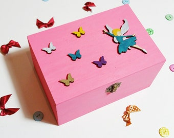 Fairy Butterfly Box - Wooden Box - Fairy Box - Butterfly Box - Keepsake Box - Childrens Gift - Colourful Box - Baby Shower - Birthday Gift