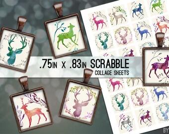Watercolor Deer Buck Doe Digital Collage Sheet Scrabble Tile .75x.83 Images 4x6 8.5x11 Download Sheets for Glass Resin Pendants E0078