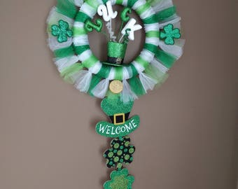 St. Patrick's day welcome swag, St. Patty's day wreath, St. Patrick's day decoration