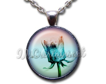 Flower Nature Translucent Glass Dome Pendant or with Chain Link Necklace NT155