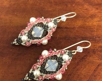 Micro Macrame Swarovski Crystal , Pearl , Seed Bead Earrings