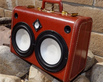 SOLD Vintage Suitcase Boombox RechargeableGlowing Speakers Samsonite by Hi-Fi Luggage Fully-Loaded