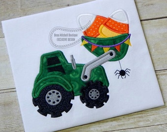 Halloween Candy Corn Loader with spider applique