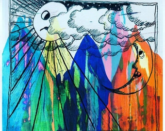 Abstract Mountain/sun and moon drawing collage art