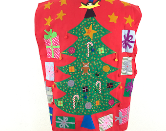 Vintage Ugly Xmas Sweater Vest One Size Large Indian Handmade Embroidered 3D Women's