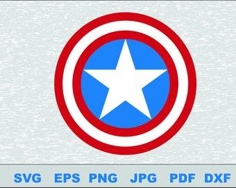 Captain America Logo  Svg, DFX  Eps,  Vector, Cut File Silhouette Studio Cameo Cricut Design Template Stencil Vinyl Decal