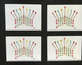 "Set of 4 Cards - Large ""Flower Menorah"" Card Prints"