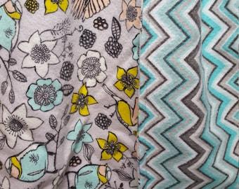 Lap Robe Throw Wheelchair Blanket Flannel Flowers Birds Reversible Chevron Stripes