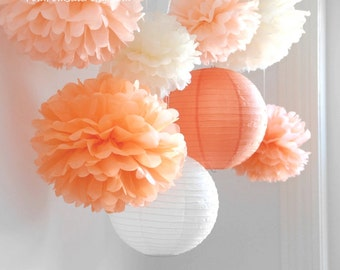 SALE - Fall in Love - 6 Tissue Paper Pom Poms plus 2 Paper Lantern - Fast Shipping - Wedding / Baby Shower / Birthday Party / Nursery Decor