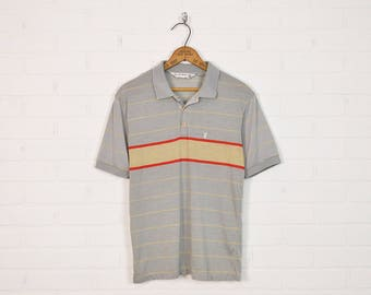 Vintage 70s 80s Playboy Polo Shirt T-Shirt Striped Polo Retro Shirt Hipster Shirt Indie Shirt Short Sleeve Collar Grey Red S Small M Medium