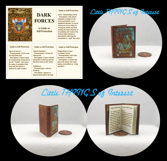 DARK FORCES Self Protection Guide MAGICAL Textbook 1:6 Scale Illustrated Readable Book Magic Wizard Witch Popular Boy Wizard Potter Barbie