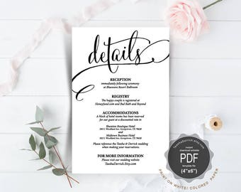 Wedding Details Card PDF template, instant download printable, editable insert card, enclosure card in rustic calligraphy theme (TED340_14)