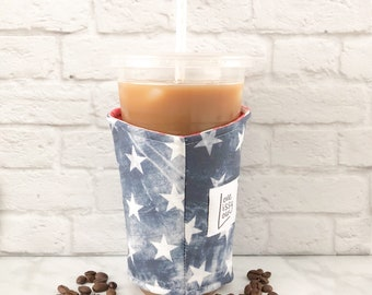 Coffee Cozy, Cup Sleeve, Iced Coffee Cozy, Cup Cozy, Cozies, Insulated Cup Sleeve, Flag Cozy, Patriotic, Fabric Cozy