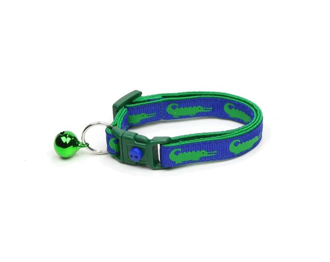 Alligator Cat Collar - Alligators on Royal Blue - Small Cat / Kitten Size or Large Size