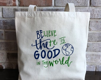 Be The Good - Reusable Grocery Bag Canvas - Large Tote Bag - Mindfulness Gift - Inspirational Quote - Teacher Gifts - Yoga Bag - Believe