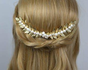 Bridal Comb Golden Laurel Leaf Freshwaterpearls