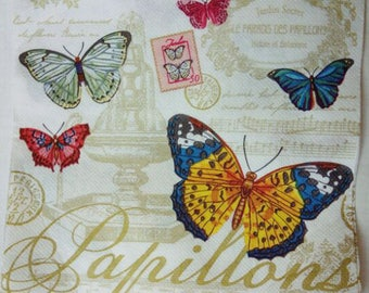 Set of 2 Paper Napkins for Decoupage , Butterfly Napkins Vintage,  Decoupage Napkin Craft