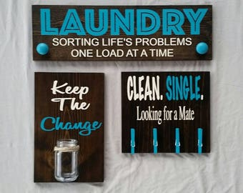 Laundry signs, laundry room signs, laundry decor, wash room, utility room, wall decor, hanging signs