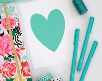 Teal Heart on White Shimmer background // heart print // teal heart // heart prints // teal blue coloured prints // PRINT 5x7