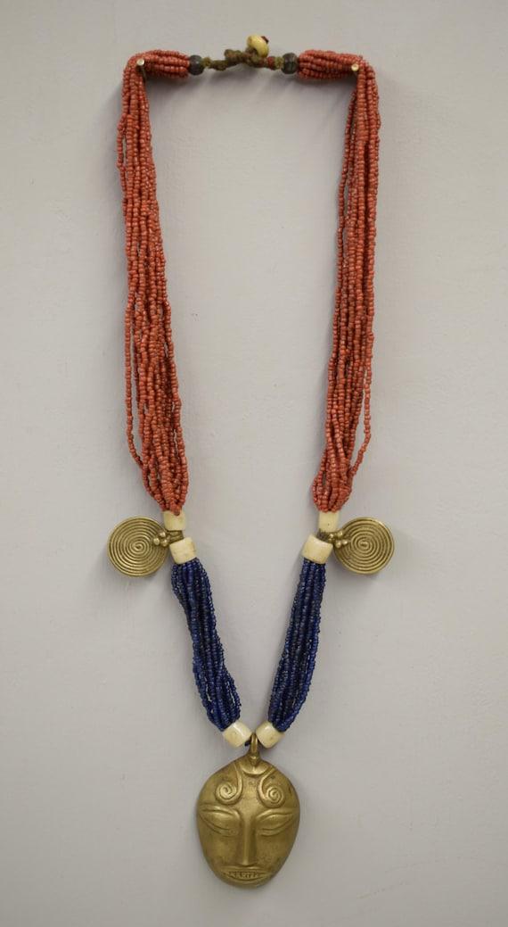 Naga Necklace Brass Head Pendant India Handmade Multi Strand Blue Red Beads Trophy Naga Brass Head Necklace Unique