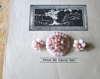Vintage Pink Plastic Jewelry, Beaded Brooch and Earrings, Rockabilly Jewelry, Retro Fashion Accessory, Pink Earrings,  Pink Jewelry Set