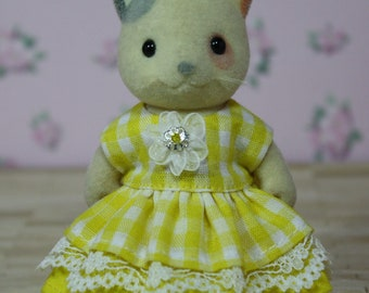 Calico Critter Sylvanian Families Clothing, Yellow Gingham Double Tiered Dress, Calico Critter Dress, Calico Critters Clothes