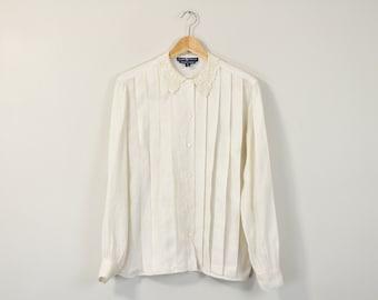 Pleated Linen Blouse, Vintage Ralph Lauren Blouse, Lace Collar Blouse, Simple White Blouse, 90s Minimal Top, Long Sleeve Button Up Shirt