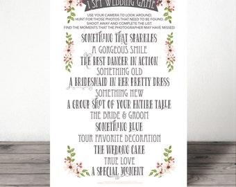 Printable Wedding Reception Game I Spy Wedding Game
