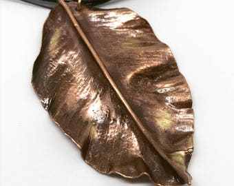 Copper leaf necklace, leaves, copper necklace, necklace, copper pipe, textured copper