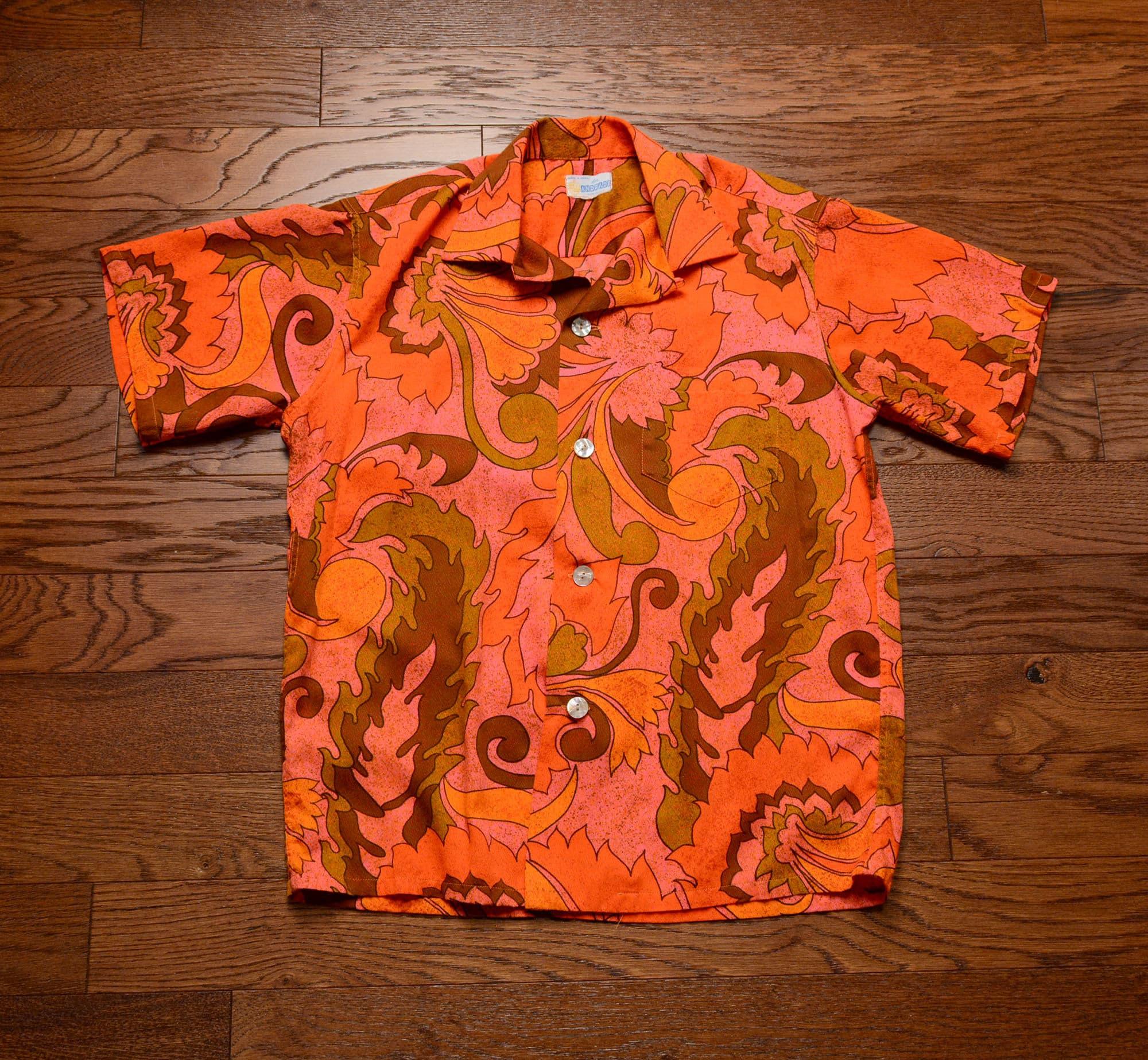 Vintage 1970s psychadelic Hawaiian blacklight shirt Pkounnx6y