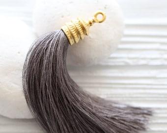 Gold cap gray silk tassel, large tassel, tassel pendant, gold tassel cap, grey tassel, jewelry tassels, long silk tassel, mala tassel, N2