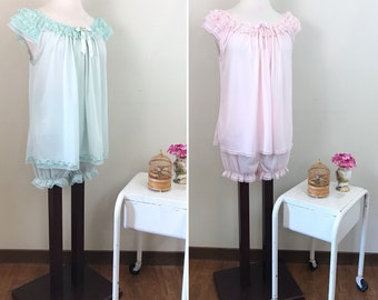 Vintage 1950s Lingerie Set / Teddy with bloomers / Pastel pink / Mint green / Lacy / Semi sheer