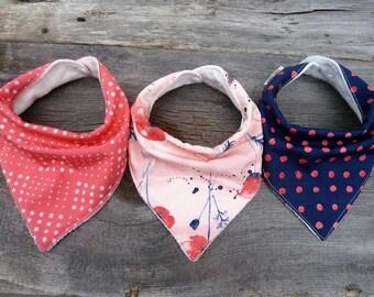 Organic bandana bibs, Baby girl gift, Baby bib, Floral baby bib, Drool Bib, Girls bandana bib,Modern baby bib, Poppy baby, Coral navy bib