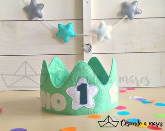 Children's birthday crown in named or decorated felt