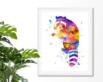 Raccoon #2 Watercolor Art Print, Poster, Wall Art, Home Decor, Kids Wall Art, Play Room Wall Art, Nursery Wall Art, Archival print