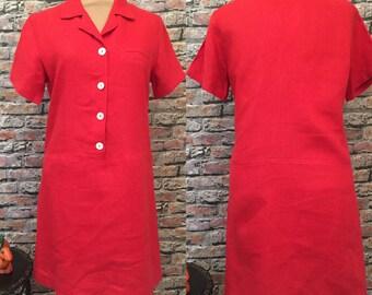 Vintage David Dart Red Linen Short Sleeve Day Dress  size Small/Medium