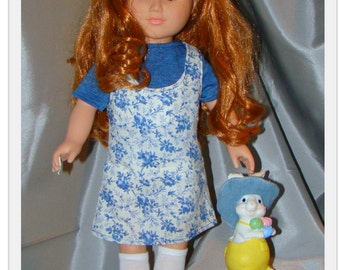 """Country Blue Summer jumper and T - fits like American Girl Style 18"""" Dolls! School, Dress Up or Playground Doll Clothes."""