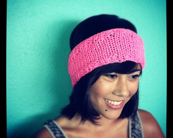 SALE! Neon KNIT HEADBAND - Hot Pink Hand Knit Headband Earwarmer Headwrap, Knitted Head band, Neon Knit Headband