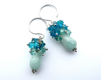 Petite Apatite -- Cluster Dangle with Amazonite, Apatite, Aquamarine and Sterling Silver