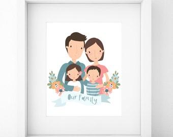 Custom Family Portrait/Family Portrait Custom/Family Portrait/Custom Portrait/Family Portrait illustration/Anniversary Gift/Valentines Day