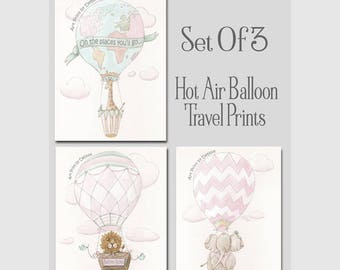 Blush Pink Baby Nursery Decor Set Of 3 Prints For Girls Travel Themed Bedroom, Personalized Air Balloon Prints Baby Safari Animals, 6 Sizes