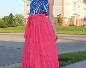 Women's Ruffle Wrap Skirt XS, S, M, L sizes, also available for girls from 2T