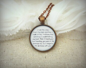 I Took The Stars From My Eyes Cosmic Love Handcrafted Pendant Necklace