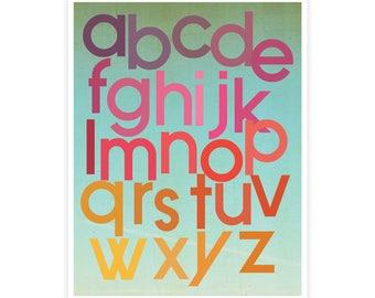 Mod Berry Alphabet Poster, Gender Neutral, ABC Vintage Wall Art, Nursery, Room Decor, Alphabet for Kids, Wall Decor, Educational Print