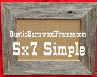 """5X7 1 1/2"""" Flat Unfinished rustic barn wood aged weathered custom repurposed primitive barnwood photo picture frame 5"""" x 7"""""""