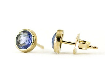 Sapphire 14k Gold Stud Earrings - Bezel Set Rose Cut Sapphire Post Earrings - Yellow, White or Rose Gold
