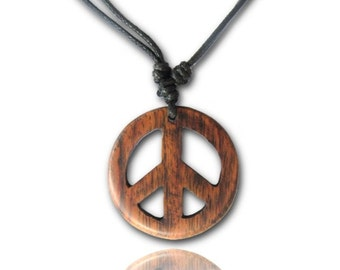 Chain, Brown, from sono wood, peace pendant, 3, 3 cm, adjustable cotton chain (KH-15)