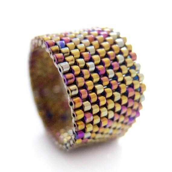 Metallic Gold Ring, Gold Beaded Ring, Dreadlock Bead, Iridescent Gold Ring